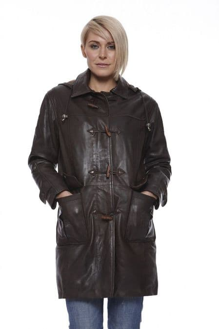 Womens Leather Duffle Coat in Brown